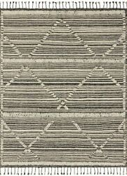 8and039 6 X 11and039 6 Loloi Rug Iman Ivory Charcoal 100 Wool Pile Power Loomed