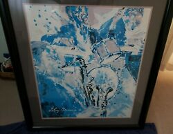 Leroy Neiman Jazz Saxophone And Drummer Matted Framed By Beverly Hills Art Gallery