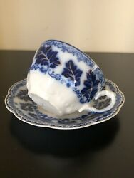 Antique Johnson Brothers China Normandy Flow Blue Teacup And Saucer Excellent Con