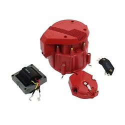 Hei Distributor 8cyl Tune-up Kit 65k Volt Ignition Coil Red Super Male Cap