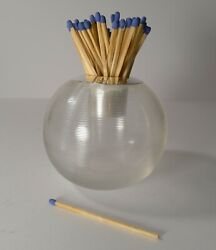 Oversized Edwardian Threaded Glass And Sterling Silver Match Striker