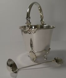 Vintage Italian Ice Bucket And Draining Spoon By Macabo C.1950