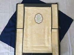 Vintage Rayon Damask Set Tablecloth And Napkins - Made In Northern Ireland