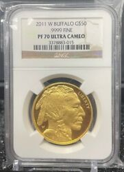 2011 W West Point 50 1 Oz. Proof Gold Buffalo Coin Ngc Proof Pr 70 Ultra Cameo