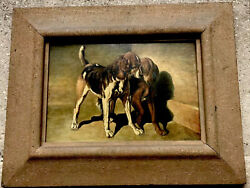 Antique Dog Oil Painting On Panel Beautiful