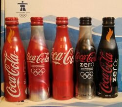 Official Vancouver 2010 Olympic Coca Cola 5 Bottle Rare Set Coke Sealed / Full