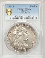 1818 Germany Bavaria Constitution Thaler Taler Coin Pcgs Ms62 Firm Strike