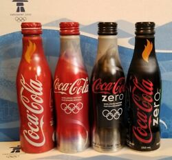 Official Vancouver 2010 Olympic Coca Cola 4 Bottle Rare Set Coke Sealed / Full