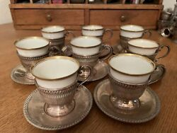 8 Fisher Sterling Demitasse Cups And Saucers W/ Hutschenreuther Selb Bavaria Liner
