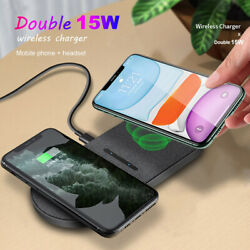 Us 30w Qi Fast Wireless Charger Dual 15w Charging Mat Pad For Iphone 12 Pro Xs 8