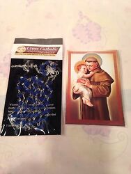 Saint Anthony Prayer Booklet Rosary Beads And Necklace New