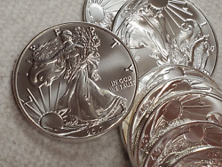 Roll Of 20 2017 1 American Silver Eagles Stunning Bu In Mint Tubeno Blemishes