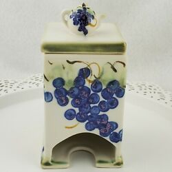 Clouds Of Folsom Studio Pottery Hand Painted Grapes Ceramic Tea Bag Holder W/lid