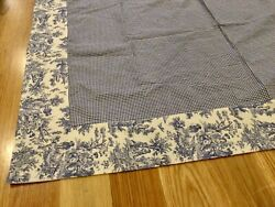 """Waverly Blue French Toile Gingham Lined Tablecloth Linen 48"""" X 64"""" EUC"""