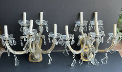 Italy Pair Rare Vintage Electric Glass Prisms Lights Antique Sconces 5 Arm Wall