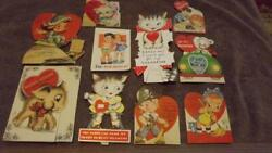 Vintage 1940and039s Valentine Valentines Day Cards Lot 17