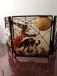 Homco Halloween 3 Panel Glass And Metal Screen Candle Holder Ghost Witch Black Cat