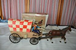 Iob Vintage Purina Covered Wagon, Horse + Driver Action Toy Not Tested