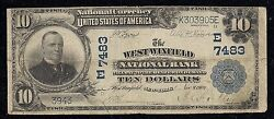 Rare West Winfield Ny 7483 Series 1902 10.00 Plain Back 4 Notes Reported