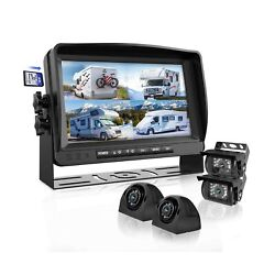 Backup Camera System With 9'' Large Monitor And Dvr For Rv Semi Box Truck Tra...