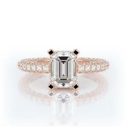 Special 2.00 Ct F Si1 Diamond Engagement Ring Emerald 14k Rose Gold