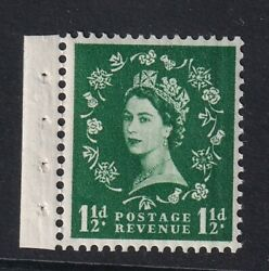 Gb Qeii 1958-61 Sg589wi 1-1/2d. Green Inverted Watermark Mnh Stamp