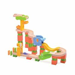 Top Right Toys Safari Trix Track Wooden Marble Run For Kids - 65 Piece Animal...