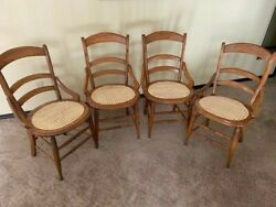 Set Of Four Vintage Cane Seatandnbsp Ladder Back Chairs. New Cane On All Four.andnbspandnbsp