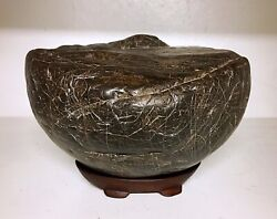 Natural Polished Viewing Stone Suiseki-old Stock Yellow Wax Textured Specimen