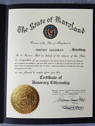 Governor Of Maryland Certificate Of Honorary Citizenship 1988 By Soviet Citizen