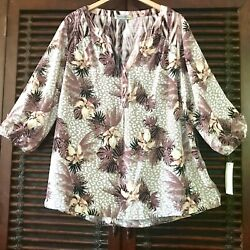 2x Nwt Anthropologie Figeuro Flower Tunic 3/4 Sleeves
