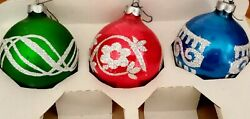 3 Vintage Holly Stenciled Glitter Glass Christmas Ornaments Etched Round Bulbs