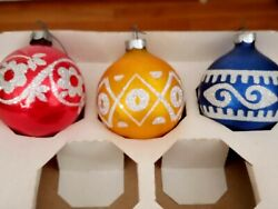 Vintg Holly Stenciled Glitter Glass Christmas Tree Ornaments Etched Round Bulbs