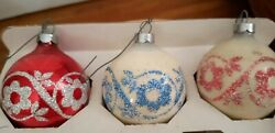 3 Vntg Holly Stenciled Glitter Glass Christmas Tree Ornaments Etched Round Bulbs