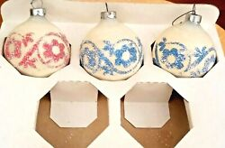 Vntg Holly Stenciled Glitter Glass Christmas Tree Ornaments Etched Round Bulbs