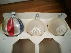 3 Vintage Stenciled Glitter Glass Christmas Tree Ornaments Etched Round Bulbs