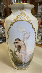 Antique Delinieres And Co Limoges Nude Hand Painted Double Sided Vase Ca. 1893