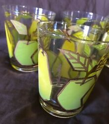 6 Fred Press Glasses With 22k Gold Outline Pears And Apples Forbidden Fruit