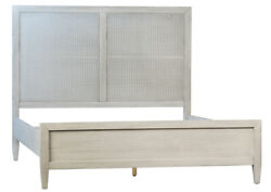 86 King Bed Antique White Finish Reclaimed Acacia Wood Rattan Headboard