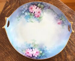 Ant Bavaria Selb Hutschenreuther 10 1/2 Handled Charger Plate Pink Rose