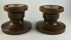 Vintage Pair of Wooden Candlestick Holders Gorgeous Wide Base Short