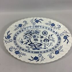 J And G Meakin Blue Nordic Small Platter England Vintage Blue Classic White 12