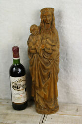 Antique 19thc Wood Carved French Madonna With Child Statue Figurine Religious