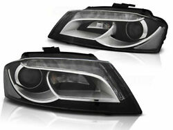 Led Headlight Set With Real Daytime Running Lights For Audi A3 8p 08-12 Blk