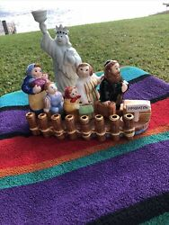 Unique Ceramic Menorah Family Traveling To America Handcrafted By Lotus