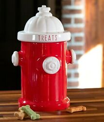 Red Fire Hydrant Dog Treat Canister Cookie Jar Pet By Blue Sky Clayworks New