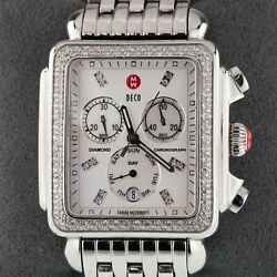 Michele Deco Stainless Steel Day/date Chronograph Watch W/ 0.72 Ctw Diamond