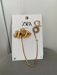 Zara Womenandrsquos Gold Double Metal Brooch With Rhinestones + Pearl Detail Brand New