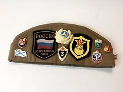 Authentic Ussr Russian Soviet Military Soldier Cap Hat 60 - 21 Pins 2 Patches