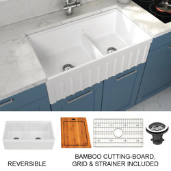 Yorkshire Farmhouse Fireclay 33 In. 55/45 Double Bowl Kitchen Sink With Cutting-